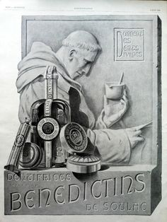 Dentifrices Benedictins de Soulac toothpaste vintage ad by OldMag