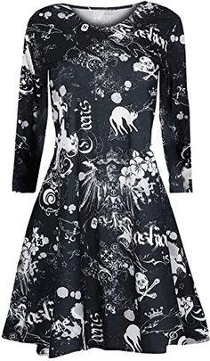 282f882acec O Neck Skull Print Pleated Vintage Dresses Fashion Halloween Mini Dress  Long Sleeve Women Autumn Halloween Sexy . ugly christmas sweater party