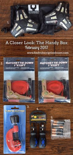 February's The Handy Box unboxed! Last month's tool & gadget subscription box had MYCHANIC Roadside LED Flares, a stubby screwdriver set, Ratchet Tie Downs & more. Check it out and subscribe now for April's tool box! http://www.findsubscriptionboxes.com/a-closer-look/february-2017-the-handy-box-review/?utm_campaign=coschedule&utm_source=pinterest&utm_medium=Find%20Subscription%20Boxes&utm_content=February%202017%20The%20Handy%20Box%20Review%20%2B%20Coupon  #TheHandyBox