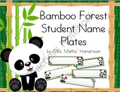 Bamboo Forest (Panda Theme) Student Name Plates from Mrs. Mathis' Homeroom on… Panda Love, Cute Panda, Classroom Themes, Classroom Organization, Classroom Hacks, Future Classroom, Student Name Plates, Rainforest Classroom, Paw Print Art