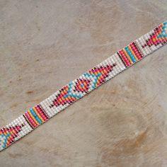 Items on Etsy woven on Miyuki beaded bracelet, bohemian hippie, ibiza style,. Beaded Hat Bands, Beaded Braclets, Bead Loom Bracelets, Bracelet Crafts, Woven Bracelets, Loom Bracelet Patterns, Beaded Jewelry Patterns, Bead Loom Patterns, Beading Patterns