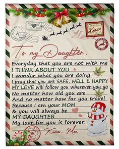 Dear Daughter, Daughter Quotes, Mommy Quotes, Mother Quotes, Family Tees, Warm In The Winter, I Think Of You, Personalised Blankets, Love Messages