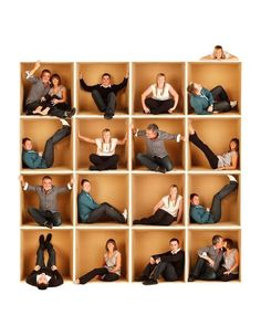 take everyone's photo in a huge cardboard box - then stitch them together in a collage