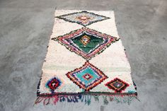 boucherouite rug with diamond shaped pattern