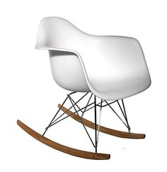 Sillón Mecedora De Diseño Moderno De Color Blanco Tower Wood. Buena Opción  Para Decorar La