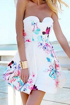 White Floral Pleated Irregular Bandeau Sleeveless Mini Dress - Mini Dresses - Dresses
