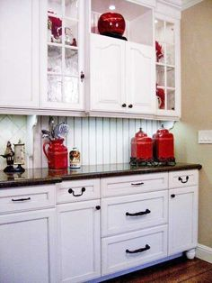 Another Kitchen Color Option Traditional White And Red Cabinetry Design Pictures Remodel Decor Ideas Page 24