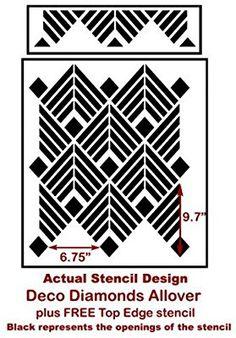 Deco Diamonds Allover Stencil - Trendy Stencils for DIY Home Decor - By Cutting Edge Stencils ... - - Amazon.com