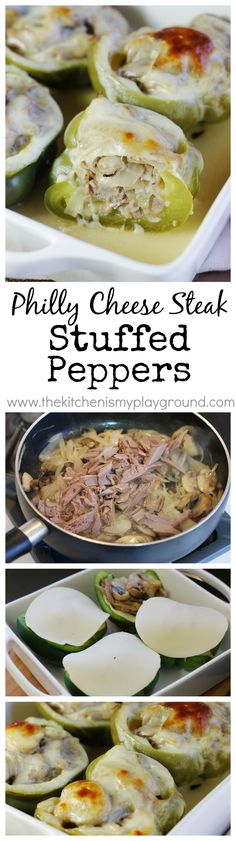 Philly Cheese Steak Stuffed Peppers ... oh my, these are a must try! www.thekitchenismyplayground.com