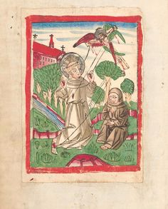 St. Franciscus of Assisi. There is a colored woodcut showing the Stigmatization of St. Franciscus in manuscript NK XVI E 16  from cca 1460 from southern Germany. This is one of the oldest graphical renditions of this scene.