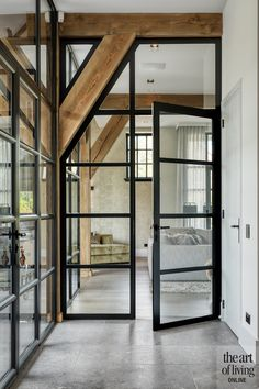 Glass House, Glass Door, Style At Home, Casa Loft, Farmhouse Renovation, Steel Doors, Home And Deco, Interior Styling, Interior Inspiration