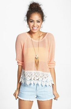 Frenchi® Lace Hem Cotton Pullover (Juniors) available at #Nordstrom