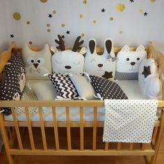 safe crib bumper pillows and baby sleeping-bags by RepkaShop Baby Bedding Sets, Baby Pillows, Cot Bumper Sets, Koala Baby, Baby Baby, Baby Bedroom Furniture, Bed Bumpers, Kids Room Design, Animal Pillows