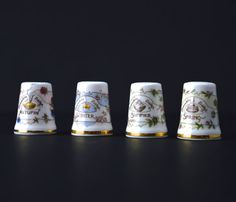 4 Vintage Collectable Thimbles Four Seasons Thimbles Royal Doulton China Thimbles Jill Barklem Brambly Hedge Thimbles Collector Thimble by FillyGumbo