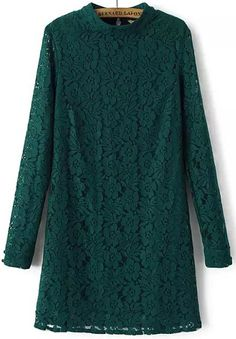 Green Long Sleeve Slim Lace Dress 21.67