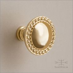 Cranwell Cabinet Knob, Round   Polished Brass   Custom Cabinet Hardware.  Each Knob Is