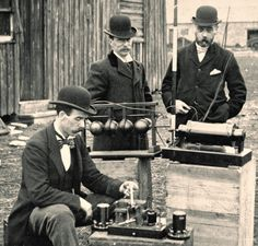 British Post Office engineers inspect Guglielmo Marconi's wireless telegraphy (radio) equipment during demonstrations on on Flat Holm island, 13 May, 1897.