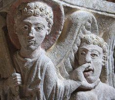 Angel Holding Back the Wind (Revelation), Capital, Abbaye Saint Pierre de Mozac, Auvergne, France Romanesque Sculpture, Romanesque Art, Stone Sculpture, Sculpture Art, Sculptures, Statues, Apocalypse, Alien Artifacts, Renaissance