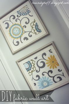 Goodwill Frames to Fabric Wall Art! Also works great with painted sewing hoops. Craft and DIY Projects and Tutorials