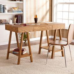 Upton Home Windhorst Oak Writing Office Desk