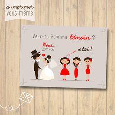 """Carte """"Veux-tu être ma témoin"""", mariage {A IMPRIMER VOUS-MÊME}"""