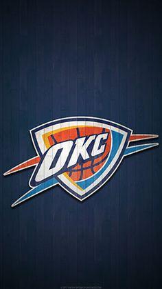 Oklahoma City Thunder Mobile Hardwood Logo Wallpaper V1