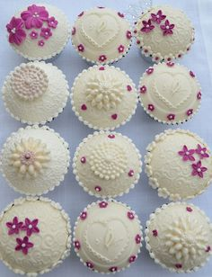 Beautifully Embossed Ivory Cupcakes