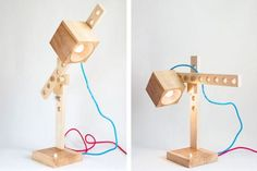 BERLIN based Osaka-born designer Shigeki Yamamoto has created a small maple light called the Spiellampe (Lamp game) that brings back the joy of playing with building blocks as a child. Desk Lamp, Table Lamp, Eco Architecture, Wooden Lamp, Diy Desk, Green Building, Sustainable Design, Yamamoto, Woodworking Shop