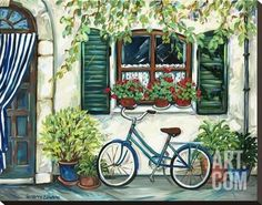 Country Cottage with Blue Bicycle Stretched Canvas Print by Suzanne Etienne at Art.com