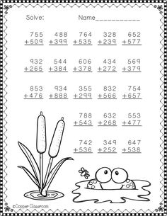 Need extra addition practice? These ten pages focus on three digit addition. Most problems require regrouping. No prep, just print and go. There is an answer key included. Mental Maths Worksheets, Teaching Resources, Math Addition, Addition And Subtraction, Math Sheets, Math Practices, 2nd Grade Math, Math For Kids, Elementary Math
