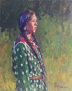 Love Medicine by Joseph Trakimas Oil ~ 20 inches x 16 inches    Tierney Fine Art Gallery  www.tierneyfineart.com/  (406) 586-4521   127 East Main Street  Bozeman Montana 59715  Artist makes all the native American clothing his models wear.  #native American Art