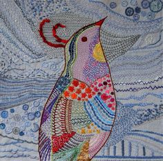 Queenie Patch -- The TASTy Bird -- sampler of the first 52 TAST stitches she learned. Amazing