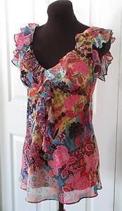 BISOU BISOU Ruffle Blouse Colorful Boho Empire Waist Pullover Top XS XCH