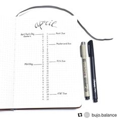 """Gefällt 686 Mal, 2 Kommentare - Bullet Journal features (@bujobeauties) auf Instagram: """"In love with this April spread by @bujo.balance  ____________________________________________…"""""""