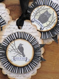 Set of THREE Vintage Inspired HALLOWEEN Gift Tags Ornaments Victorian Paper Rosettes Bats Crow Owl