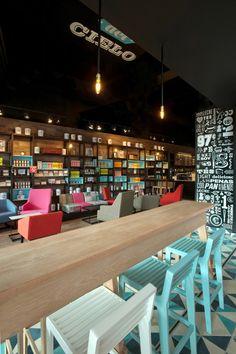 The colors, the floor, the wooden walls, the graphic elements... everything about Cielito Querido Café is great! | Designed by Ignacio Cadena y Héctor Esrawe