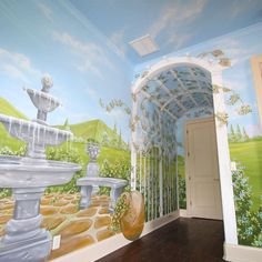 Theme rooms with murals custom hand painted wall murals by art - 1000 Images About Murals On Pinterest Fairytale Garden