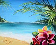 Hawaiian beach with Plumeria flowers beginner painting idea. Hawaiian beach with Plumeria flowers … Beach Canvas Paintings, Easy Canvas Painting, Diy Painting, Canvas Art, Art Paintings, Beach Mural, Beach Art, Beach Drawing, Wine And Canvas