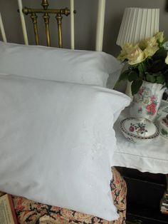 Vintage embroidered pillowcases from Lavender House vintage #vintage#bedroom#boudoir#decor#interiors#linens
