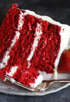 This BEST Red Velvet Cake EVER is the recipe my mom used. I have tried a LOT of Red Velvet recipes, and this is by far the best one out there. It's soft, moist and tender, with the perfect red velvet flavor! # red velvet cake The BEST Red Velvet Cake EVER Southern Red Velvet Cake, Easy Red Velvet Cake, Red Velvet Flavor, Bolo Red Velvet, Red Cake, Red Velvet Cupcakes, Homemade Red Velvet Cake, Vegan Red Velvet Cake, Red Velvet Truffles