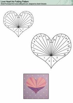 Love Heart Iris Folding Pattern