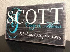 PERSONALIZED Family Established Sign!! Wedding/Anniversary/Newlywed/Family on Etsy, $20.00