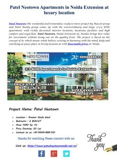Buy wonderfully designed homes in a well-designed residential project Patel Neotown. The marvelous residency has been developed to offer the most luxurious flats in green atmosphere. The campus is offering home with all latest amenities and located in well-connected location of Noida Extension.