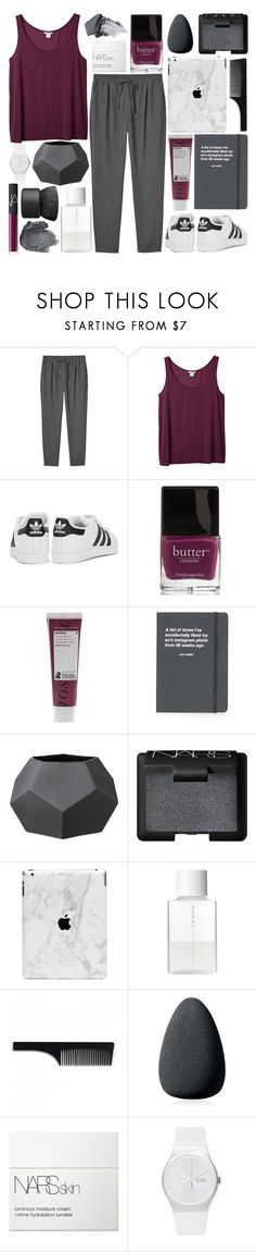 """DAY BY DAY"" by glowing-eyes ❤ liked on Polyvore featuring Monki, adidas Originals, Butter London, NARS Cosmetics, Korres, Topshop, Bloomingville, Anna Sui, SUQQU and Imm Living"