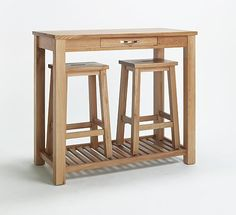 Sherwood Oak Breakfast Table & 2 Stools