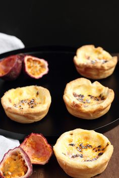 These delicious little custard tarts originate from Portugal where their called pasteis de natas, they are thought to have been created by monks before the century. Cookbook Recipes, Baking Recipes, Custard Recipes, Fruit Custard Tart, Passionfruit Recipes, Wraps, Galette, Savoury Dishes, No Bake Cake