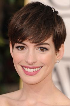 These 20 Celebrities Look SO Different With Short Hair #refinery29  http://www.refinery29.com/2016/12/132562/celebrity-short-haircut-before-and-after-photos#slide-30  Hathaway's cut for 2012's Les Miserables was as short as you can go, save for a buzz cut. And she owned it....