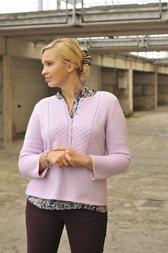 I was looking for a very girly sweater pattern for that gorgeous cashmere yarn. And I found it - men's henley :) Got bigger gauge, so I've made 36 1/2 size for my 40 size bust with a little bit o...