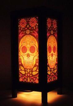 Thai Handmade Asian Oriental Fantasy Skull Wood Paper Lamp Bedside Table Light Home Decor Bedroom Decoration Modern Thailand