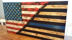 Brilliant Ideas for Your Room Wall with Rustic Wood Flag - American Flag Blue Line, Wooden American Flag, Thin Blue Line Flag, Wooden Flag, Wooden Diy, Diy Wood Projects, Wood Crafts, Air Force Gifts, Wooden Toy Boxes